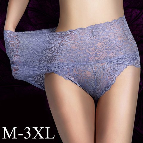 Plus Size High Waisted Lace Tummy Shaping Panty