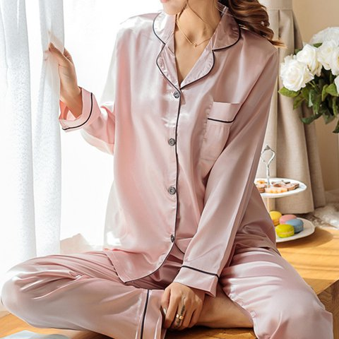 Plus Size Soft Silk Like Sleepwear Sets