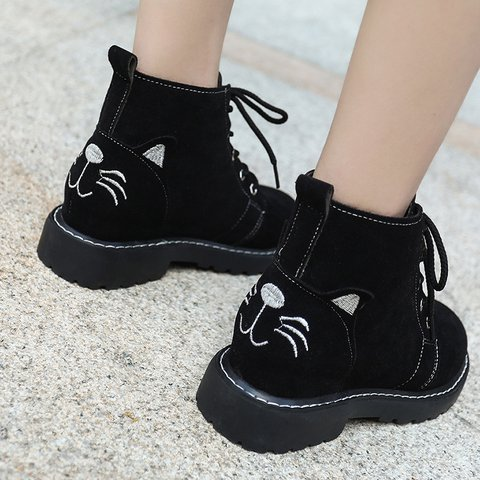 Gray Daily Winter Lace-up Artificial Nubuck Cat Pattern Low Heel Boots