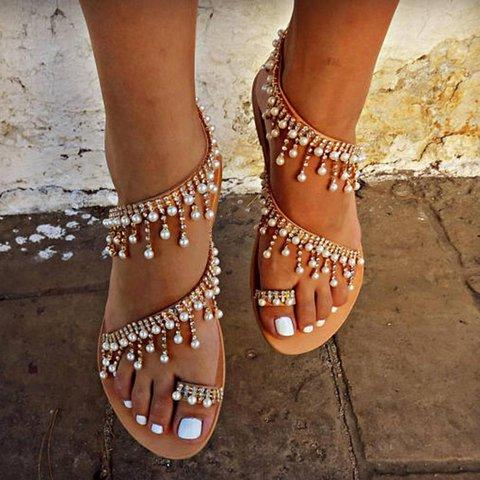 Women Plus Size Imitation Pearls Sandals Casual Slip-On Sandals