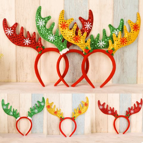 Christmas Sequin Deer Buckhorn Buckle Kids Adult Headwear Hair Accessories Party Decoration