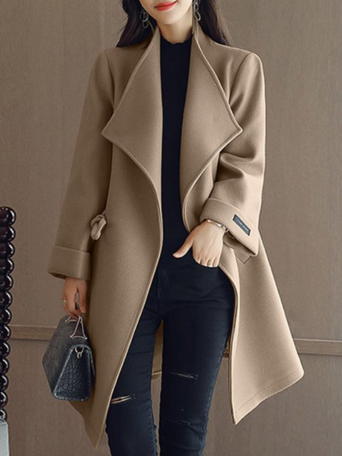 Elegant Shawl Collar Long Sleeve Winter Wool blend Coat