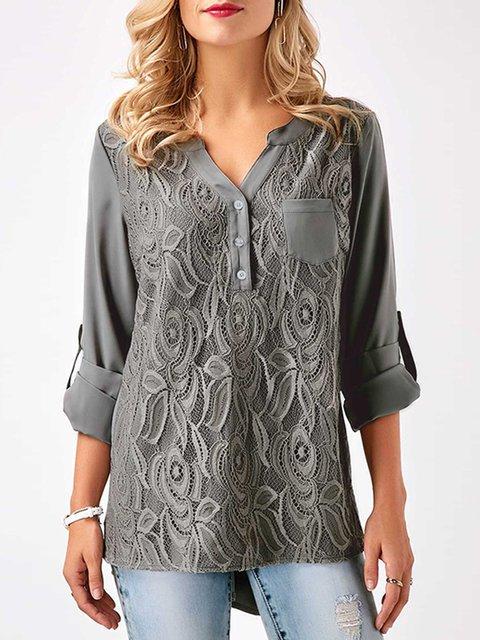 Guipure Lace Cotton-blend Casual V Neck Blouse