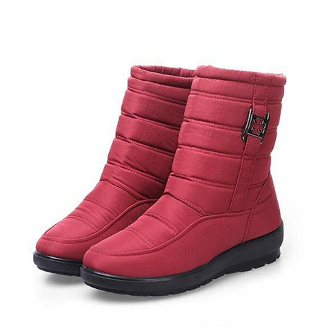 Big Size Metal Waterproof Zipper Mid Calf Casual Boots