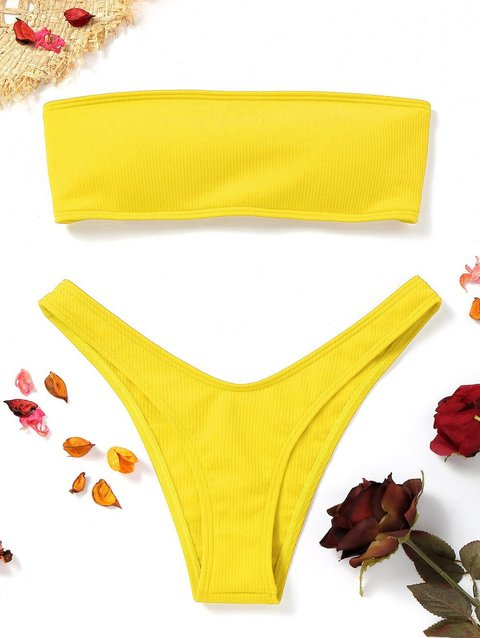 Lace-up High Cut Ribbed Bandeau Padded Bikini
