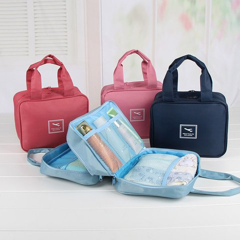 Travel Multi Pockets Cosmetic Wash Bag Nylon Lightweight Storage Bag
