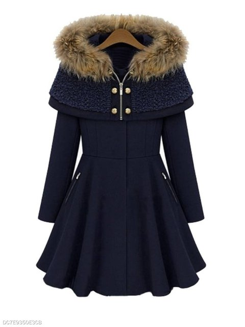 Navyblue Sleeve Long Casual Coat Zipper rwrqRAxBnH