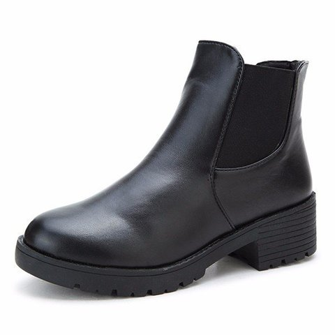 Fashion Black Leather Slip On Elastic Square Heel Boots