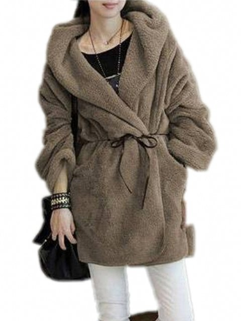 Sleeve Coat Women's Solid Hooded Long Sweet Style Sash Midi Loose Coat With ZxnpqR