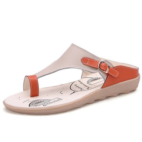 Soft Comfortable Clip Toe Buckle Color Match Leather Buckle Flat Heel Slipper