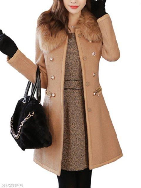 Faux Fur Button Coat Collar Woolen Plain Decorative 16S1q