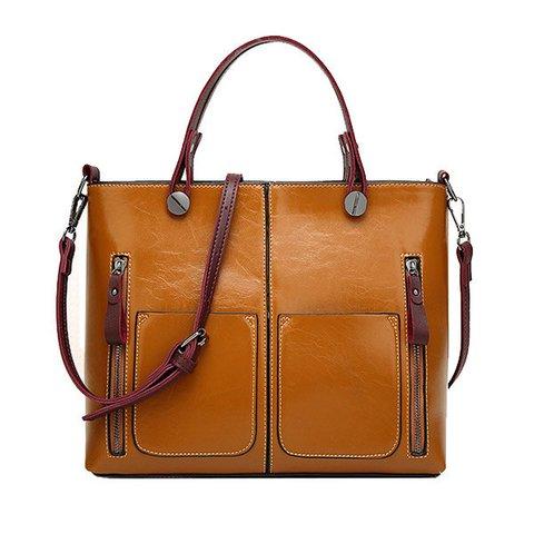 Women Retro Oil PU Leather Tote Handbags Crossbody Bags
