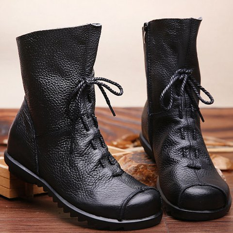 Big Size Pure Color Lace Up Ankle Leather Comfortable Zipper Boots