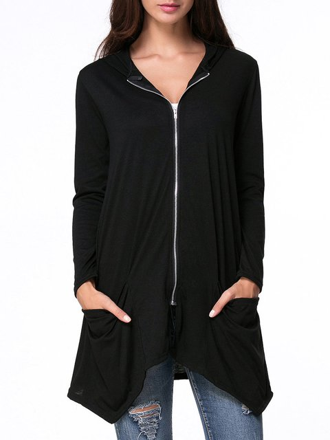 Pockets Black Size Hoodie Plus Cardigan Zipper Solid qOwwfSBxv