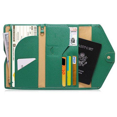 Women PU Leather Passport Bag Casual Purse Card Holder