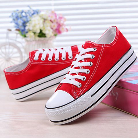 Canvas Candy Color Lace Up Platform Casual Shoes