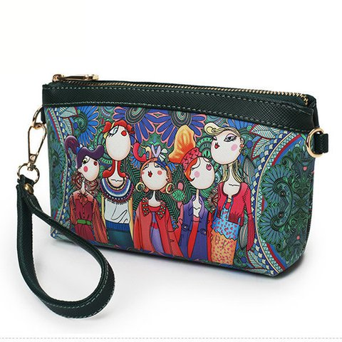 Women Vintage Forest StylePU Leather Clutches Purse Phone Wallet Crossbody Bag
