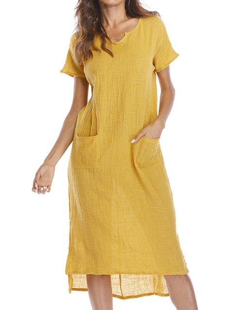 Solid Casual Short Pockets Women Sleeve Daily Summer V Shift Dress neck pq6F8