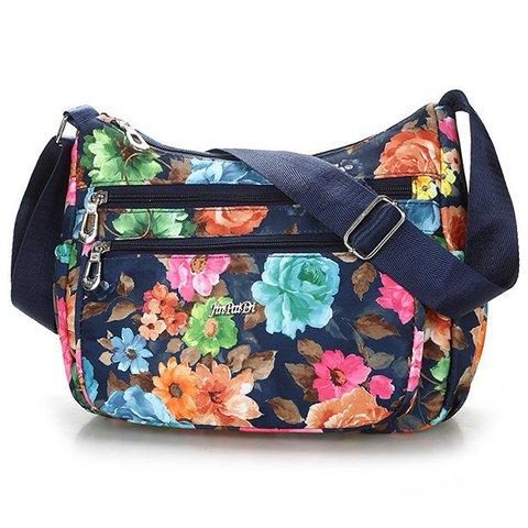Women Waterproof Nylon Flower Printed Multi-Zipper Pocket Crossbody Bag