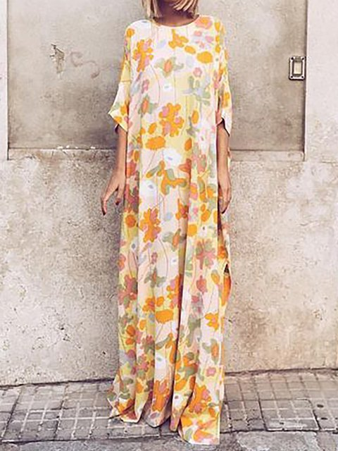 Yellow Women Holiday Half Sleeve Floral-print Floral Dress