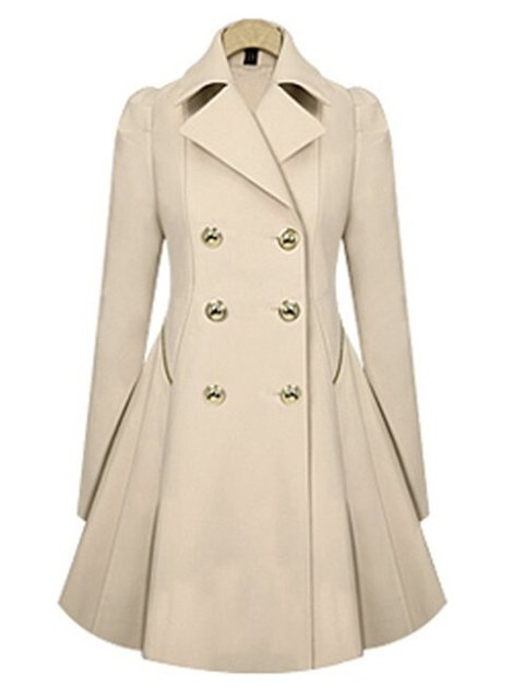 Women's Peplum Coat Solid Color Double Breasted Pea Coat