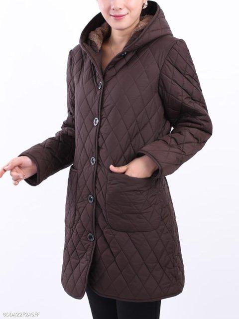 Plain Plaid Hooded Coats Plus Cashmere OwTFfxFq