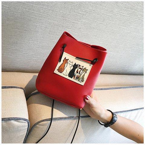 Women Lovely Cute Cat Pattern Bucket Bag PU Leather Mini Crossbody Purse
