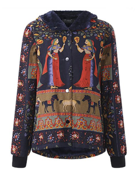 Thick Tribal Vintage Printed Hoodie Lined Coat Fleece qE18w1dOB