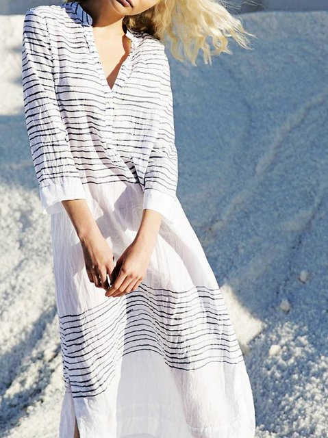 Stand Collar White Women 3/4 Sleeve Holiday Printed Striped Summer Dress