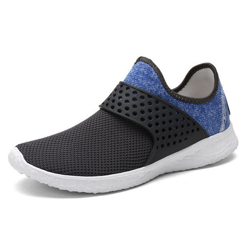 Men Fabric Elastic Slip On Light Weight Running Sneakers