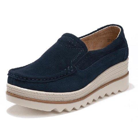 162474aec Womens Breathable Suede Round Toe Slip On Platform Shoes -  JustFashionNow.com