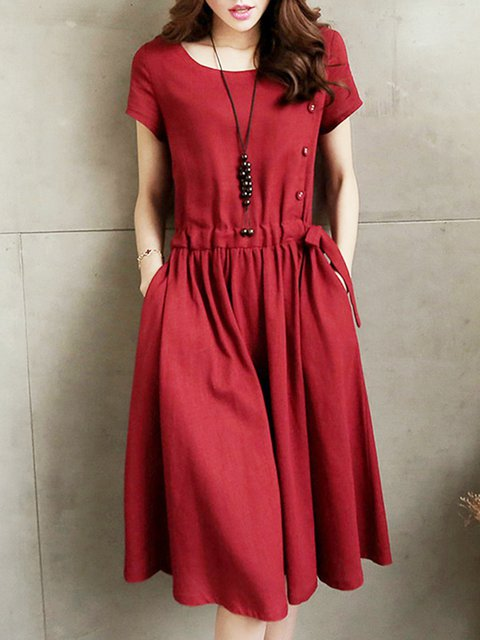 Burgundy A-line Women Short Sleeve Casual Buttoned Solid Casual Dress