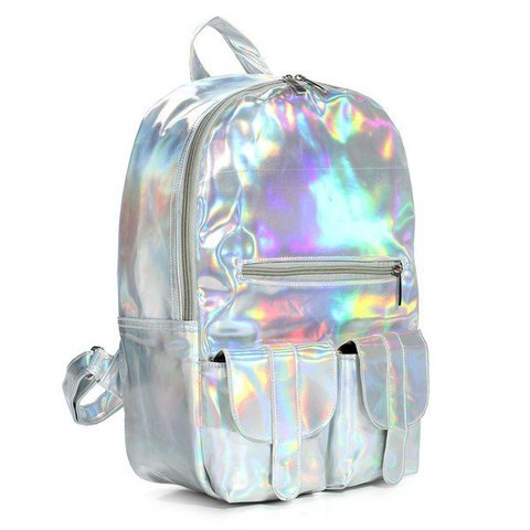 Fashionable Hologram Laser Harajuku Preppy Style High Capacity Backpack