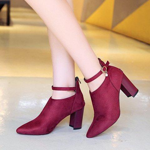 Elegant Suede Solid Color Zipper Block Heels Boots For Women