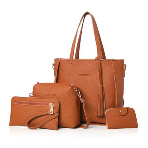 4 PCS PU Leather Multifunctional Handbags For Women Shoulder Crossbody Bags
