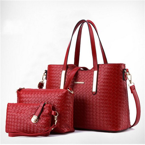 Women 3 PCS Vintage Gingham Weave PU Leather Handbag Clutch Shoulder Bag
