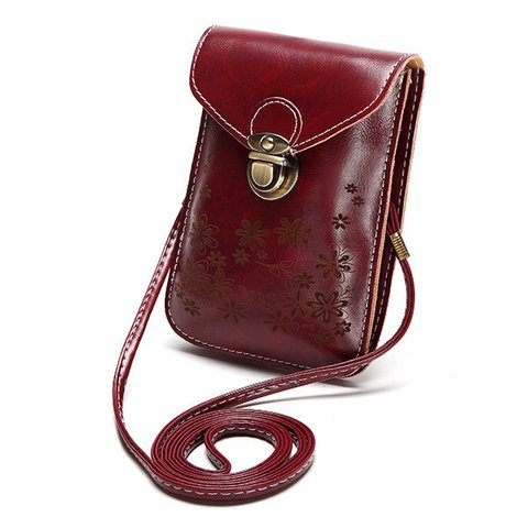 Women Embossed Flower 6 inch Phone Bag Portable Crossbody Bag