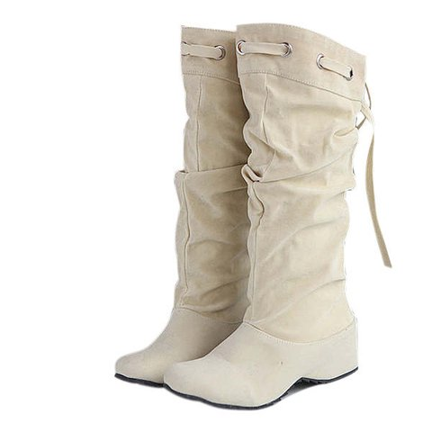Casual Mid Calf Suede Boots Leather Elevator Shoes
