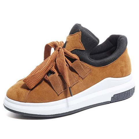 Women Lace Up Faux Suede Casual Sneakers