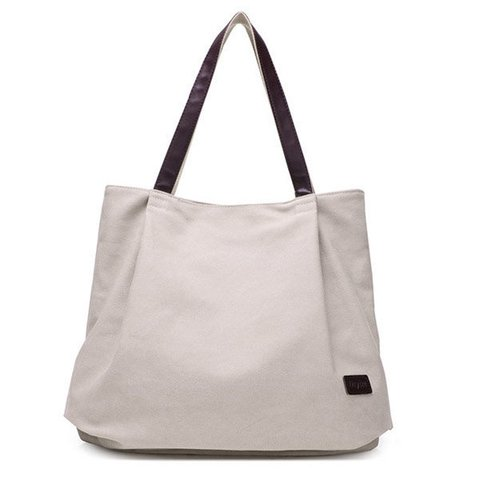 Women Canvas Pure Color Casual Simple Shoulder Bags Large Capacity Shopping Bags