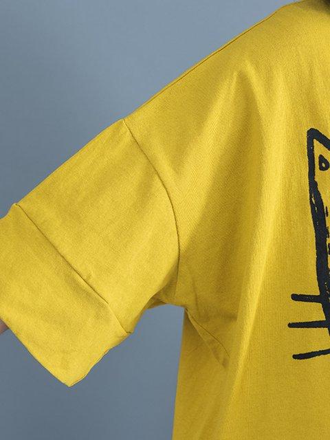 Shirt Neck Printed Print Animal Crew Sleeve Half T Yellow 7xan8wqx