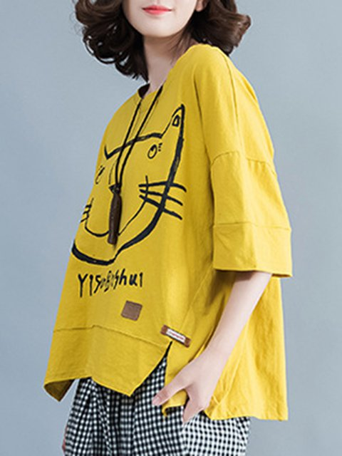 Shirt Neck Printed Print Animal Crew Sleeve Half T Yellow 7xan8wqx
