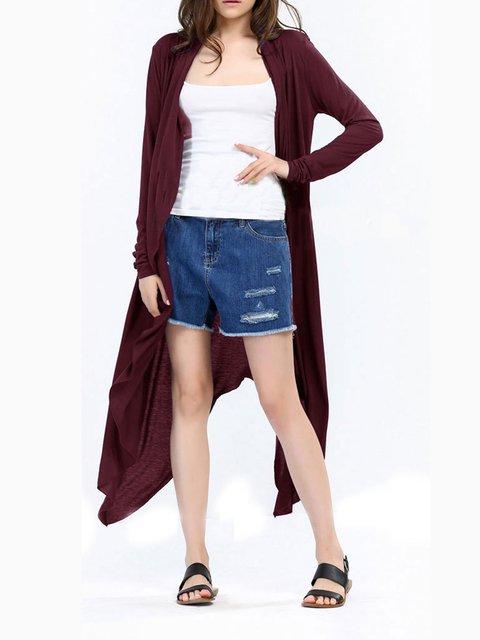 Burgundy Long Sleeve Asymmetric Outerwear