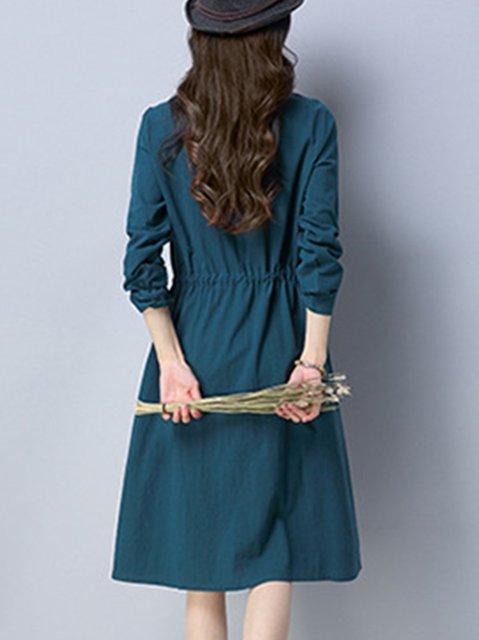 Dress Swing Long Sleeve Pockets Casual Daily Women Casual WgWUP0Z