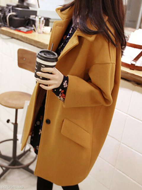 Lapel Flap Pocket Plain Woolen Pea Coat