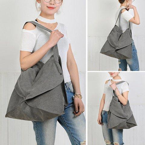 Irregularity Style Canvas Tote Handbag Casual Shoulder Bag for Women