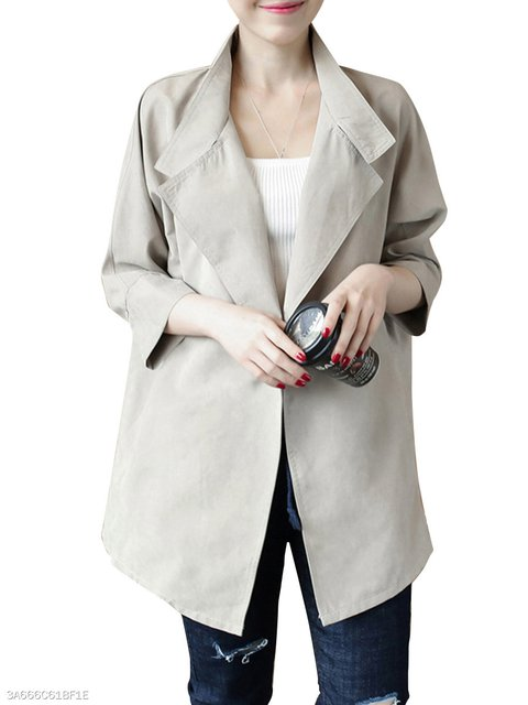 Single Sleeve Plain Trench Coats Long Button 6nSqAW6gz