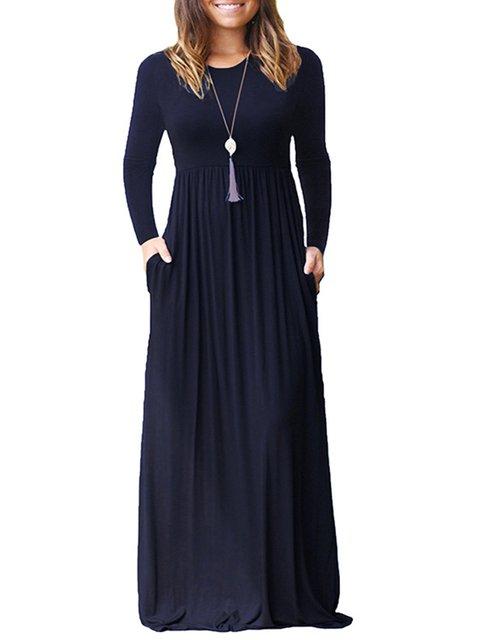 Women Daily Long Sleeve Casual Wool blend Plain Spring Dress