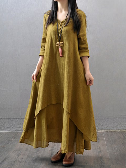 A-line Women Daily Casual Long Sleeve Asymmetric Solid Casual Dress