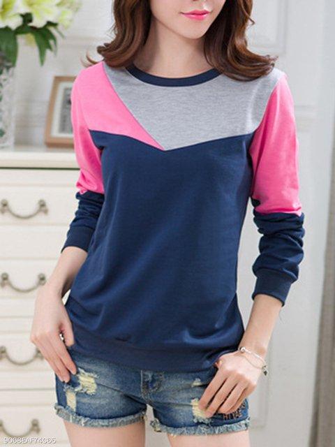 Color Block Round Neck Sweatshirt